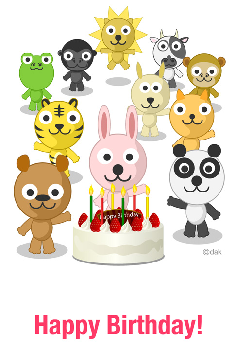 Birthday card of animal characters