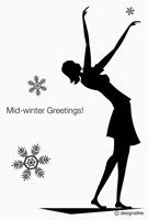 雪に舞う少女の寒中見舞い