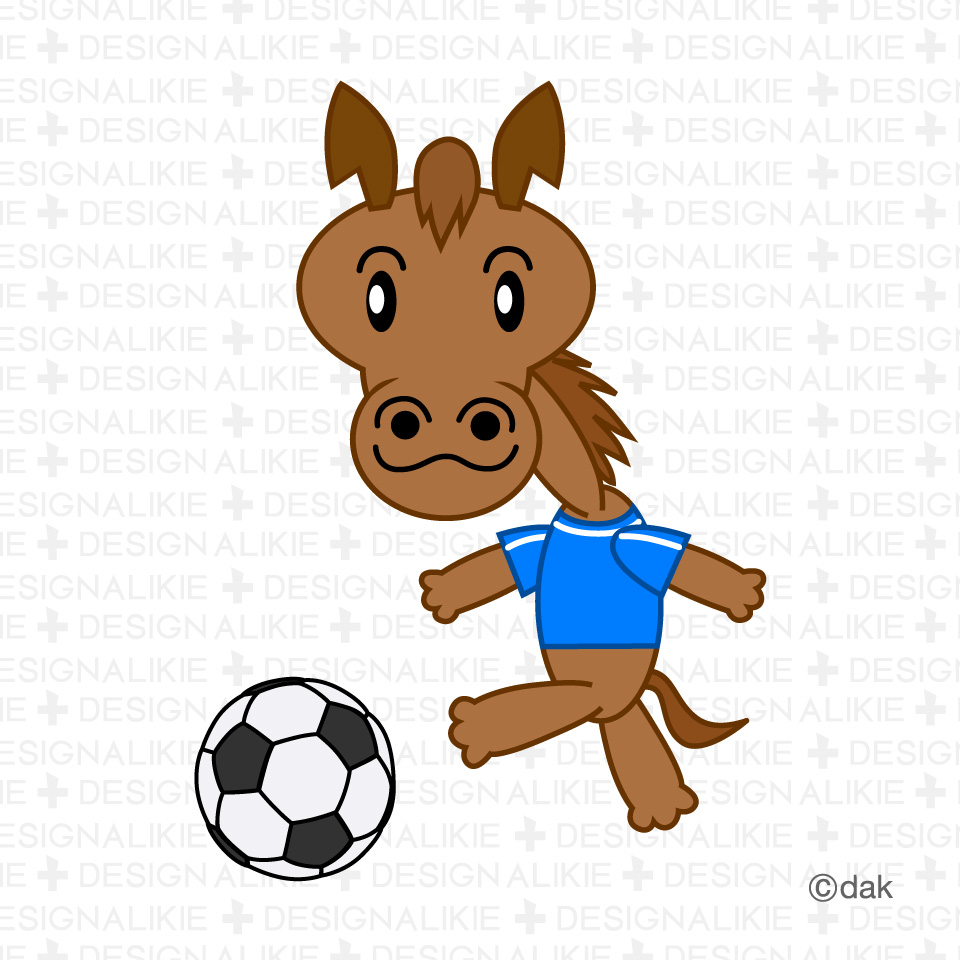 サッカーする馬キャラクターの無料イラスト素材|dakimg