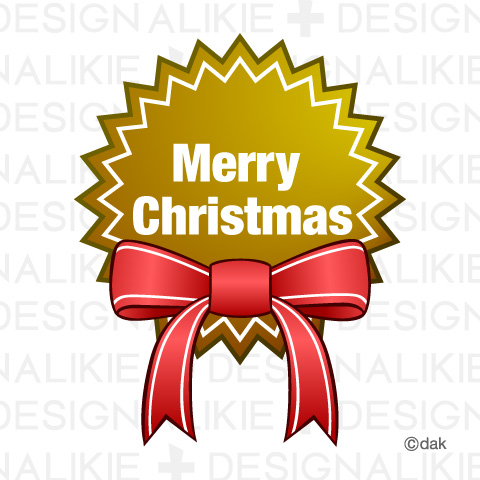Merry Christmas label free material with ribbon