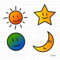太陽、星、月、地球のかわいいキャラ