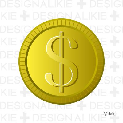 Coins of dollar mark