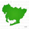 シルエットの愛知県地図