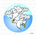雲と鳥のイラスト