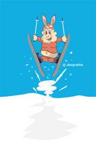 ウサギキャラのスキー