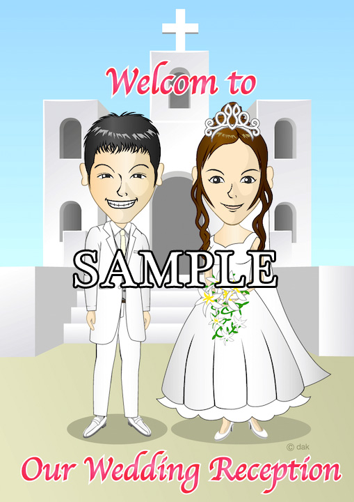 Caricature welcome board of church background
