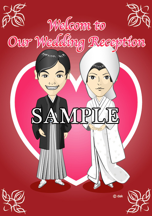 Caricature welcome board of white silk dress of Japanese dress