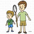 昆虫採集する親子