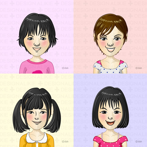 Elementary school students of four girls