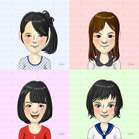 Junior high school students of four girls